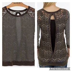 NWOT Crash & Burn Lurex Lace Thermal Top